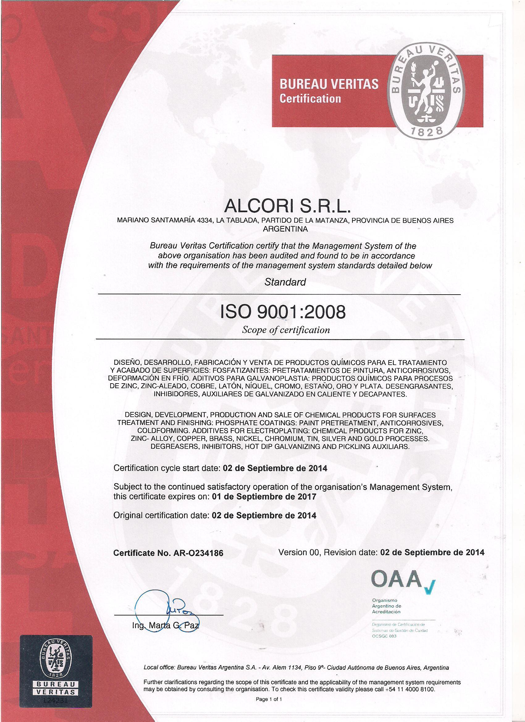 CERTIFICADO ISO 2014 -2017